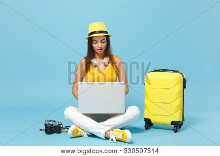 Traveler Tourist Woman In Yellow Casual Clothes, Hat With Suitcase Laptop Pc Photo Camera Isolated O