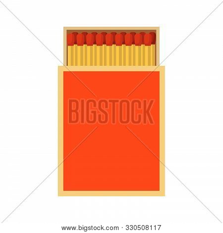 Matchbox Top View Vector Red Icon. Campfire Smoke Safety Adventure Box. Fire Sticks Square Package I
