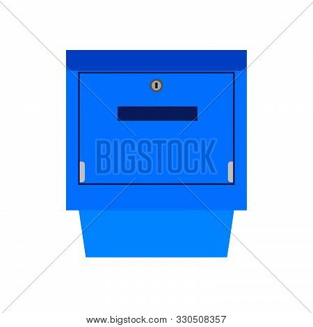 Mail Box Blue Symbol Communication Shipping Post Vector Icon. Deliver Cargo Receive Postal Element L