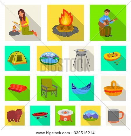 Isolated Object Of Cookout And Wildlife Icon. Set Of Cookout And Rest Stock Vector Illustration.
