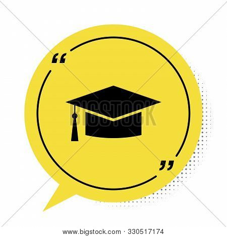 Black Graduation Cap Icon Isolated On White Background. Graduation Hat With Tassel Icon. Yellow Spee