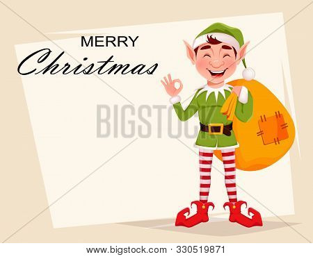 Merry Christmas Greeting Card With Funny Elf. Santa Claus Helper Elf Holding Big Sack With Presents.