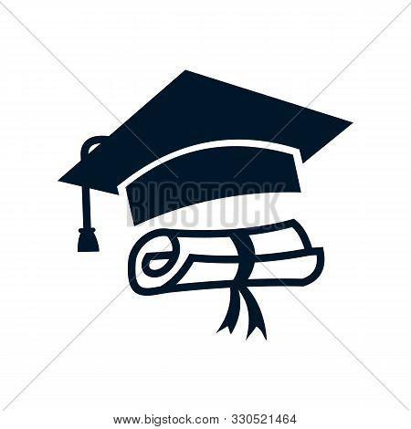 Graduation Cap And Diploma Icon Simple Vector Sign And Modern Symbol. Graduation Cap And Diploma Vec
