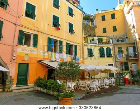 Small Cafe At Central Street Of Vernazza. Vernazza Is A Town And Comune Located In The Province Of L