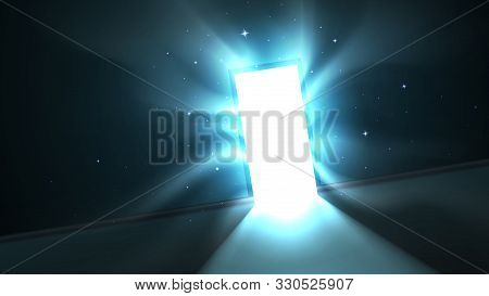 Abstract Mystical Glowing Exit, Light From The Open Door Of A Dark Room, Attractive Hypnotic Light T