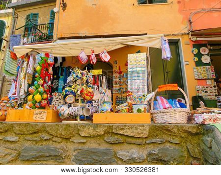 Vernazza, Italy - September 14, 2019: Vendors Stands - Profitable And Popular Form Of Sales Traditio