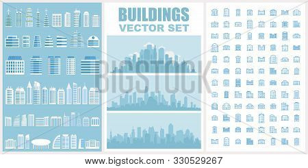 Buildings Vector Set. Collection Of Town And City Urban Architecture For Your Design. Contain Pictog