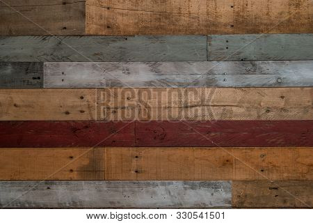 Rustic And Weathered Pallet Wood Wall With Natural And Painted Boards And Nails Closeup Copy Space F