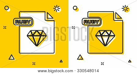 Black Ruby File Document. Download Ruby Button Icon Isolated On Yellow And White Background. Ruby Fi