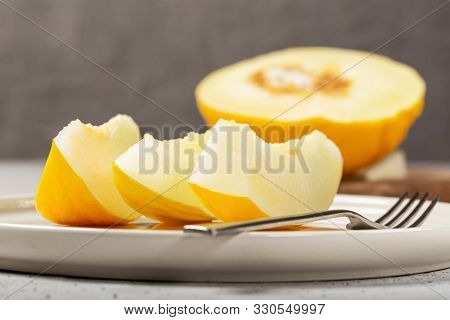 Yellow Melon With White Pulp, Grown Without Chemical Treatments.