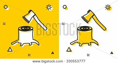 Black Wooden Axe In Stump Icon Isolated On Yellow And White Background. Lumberjack Axe. Axe Stuck In