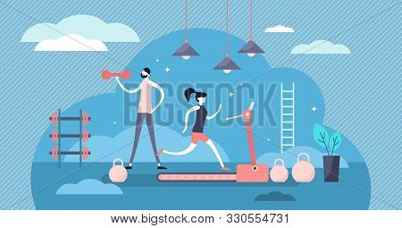 Daily Life Gym Vector Illustration. Flat Tiny Sport Exercise Scene Persons Concept. Healthy Everyday
