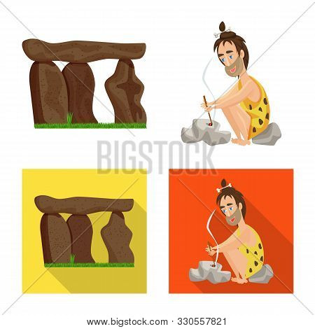 Vector Design Of Evolution And Prehistory Sign. Set Of Evolution And Development Vector Icon For Sto