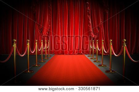 red carpet and gold barriers with red rope and large curtains at the entrance. concept of luxury and exclusivity. 3d image render