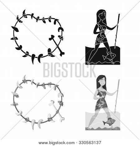 Vector Illustration Of Evolution And Prehistory Symbol. Collection Of Evolution And Development Vect