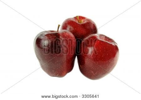 Three Red Apples Isolated On White