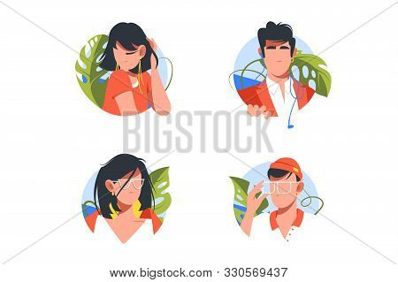 Set Vacation Icons With Avatars Men And Woman With Glasses. Concept Collection Holiday Modern Symbol