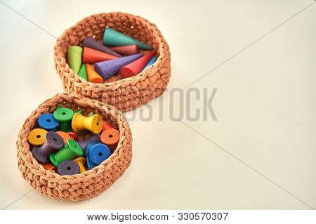 Montessori Wooden School Exercies Proposals Colorful In Baskets