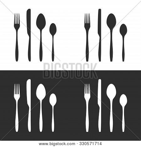 Vector Illustration Of Cutlery Silhouettes. 2 Sets Of Fork, Knife, Tablespoon And Teaspoon In 2 Colo