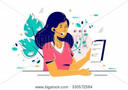 Consultant Woman In Headset With Paper Report Vector Illustration. Smiling Worker Character Consulti