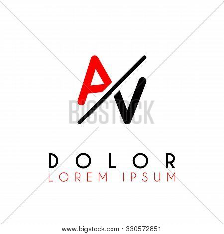 Logo A Slash V With Black Red