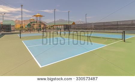 Panorama Frame All Weather Green And Blue Pickleball Court
