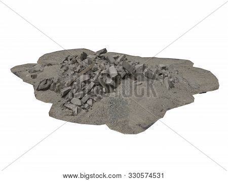 Heap of rubble and debris isolated on white 3d illustration poster
