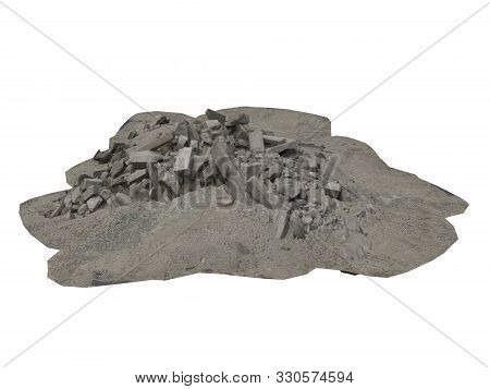 Heap Of Rubble And Debris Isolated On White 3d Illustration