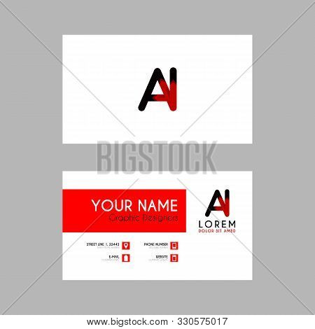 Modern Creative Business Card Template With Ai Ribbon Letter Logo .ia Logo Can Be Used For Identity