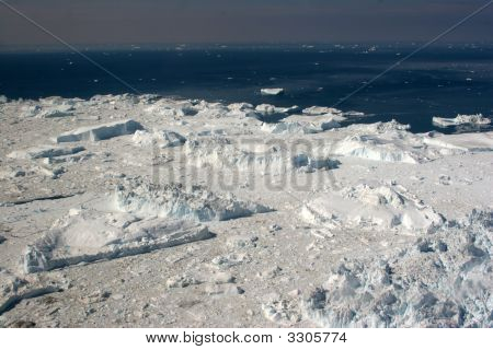 Icefjord Seen From Above Flight From Kangerlussuaq To Ilulissat