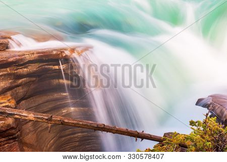Close-up View Of Athabasca Falls In Jasper National Park. Alberta. Canada