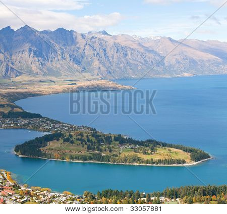 Landscape of Queenstown with lake Wakatipu from Bob's Peak New Zealand