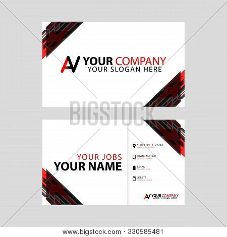 Simple Business Card Is Red Black With Av Logo Letter Modern Clean Vector Design. Va Logo Can Be Use