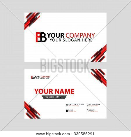 Horizontal Name Card With Bb Logo Letter And Simple Red Black, Edge Decoration . Bb Logo Can Be Used