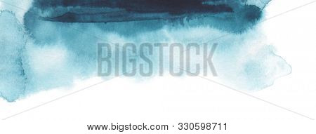 Abstract watercolor brush strokes painted background. Texture paper. Horizontal long banner.