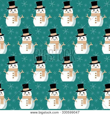 Funny Snowmen In Top Hats. Seamless Vector Illustration With Cute Christmas Characters