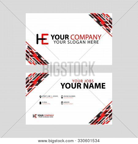Logo He Design With A Black And Red Business Card With Horizontal And Modern Design.