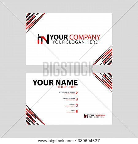 Horizontal Name Card With Decorative Accents On The Edge And Bonus In Logo In Black And Red. Ni Logo