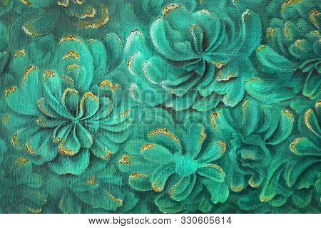 Oil Painting Textured Background. Abstract Malachite Green Peony Flowers With Golden Streaks And Rus