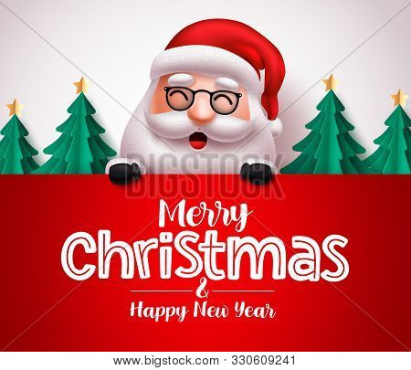 Santa Claus Character Vector Christmas Greeting Template. Christmas Santa Claus Holding Greeting Boa