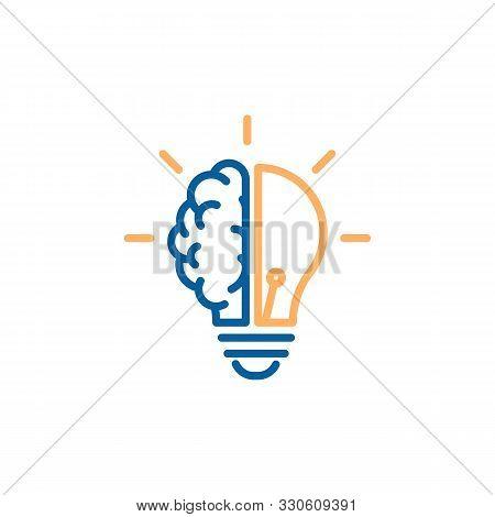 Creative Icon Of A Half Brain Half Lightbulb Representing Ideas, Creativity, Knowledge, Technology A