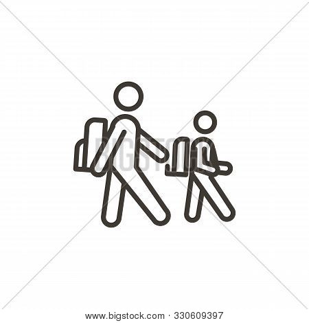 Two Colleagues From School, College Or University Walking To Class. Vector Thin Line Icon Illustrati