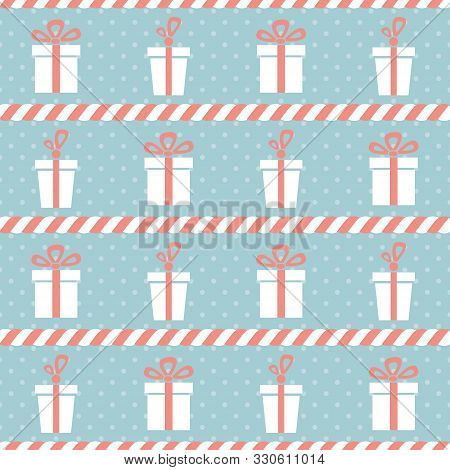 Presents And Candy Canes. Seamless Vector Illustration With Abstract Gift Boxes And Christmas Candie