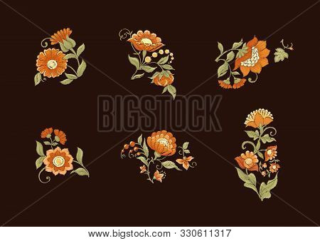 Tradition Mughal Motif, Fantasy Flowers In Retro, Vintage Style. Element For Design. Embroidery Imit