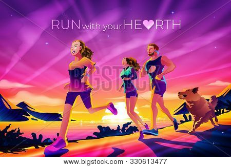 An Imagery Illustration Of A Family Running In The Morning Near The Lake Or Beach. Morning Exercise,