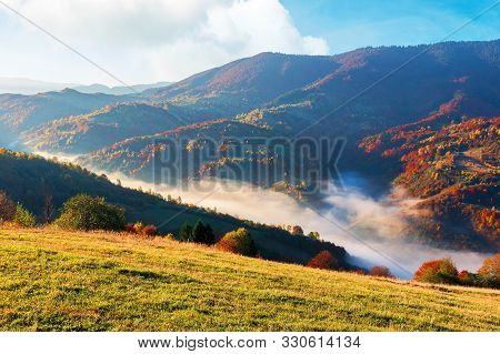 Gorgeous Sunny Morning In Mountains. Beautiful Carpathian Countryside In Autumn. Fog In The Valley.