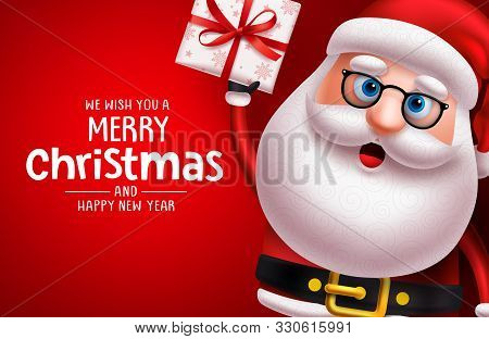 Christmas Santa Claus Character Vector Banner Template. Merry Christmas Greeting Text With Santa Cla
