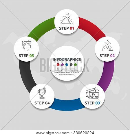 Vector Flat Template Circle Infographics. Business Concept With 5 Circles. Five Steps For Content, F