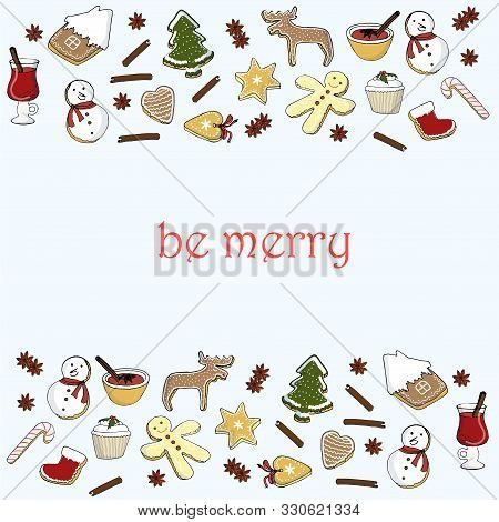 Christmas And Winter Different Desserts Seamless Horizontal Pattern On Blue, Be Merry. Hand Drawn Co