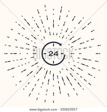Grey Clock 24 hours icon isolated on beige background. All day cyclic icon. 24 hours service symbol. Abstract circle random dots. Vector Illustration poster
